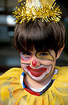 Israel, a boy with a clown costume on Purim holiday