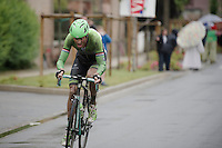 leaving the last sector of pavé as the race leader, Lars Boom (NLD/Belkin) steams away to the finish<br /> <br /> 2014 Tour de France<br /> stage 5: Ypres/Ieper (BEL) - Arenberg Porte du Hainaut (155km)