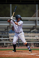GCL Yankees East Javier Reynoso (14) bats during a Gulf Coast League game against the GCL Phillies East on July 31, 2019 at Yankees Minor League Complex in Tampa, Florida.  GCL Yankees East defeated the GCL Phillies East 11-0 in the first game of a doubleheader.  (Mike Janes/Four Seam Images)