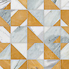 Axel, a hand-cut stone mosaic, shown in polished Cirrus, Calacatta Gold, and Xanadu, is part of the Semplice® collection for New Ravenna.