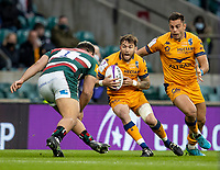 21st May 2021; Twickenham, London, England; European Rugby Challenge Cup Final, Leicester Tigers versus Montpellier; Anthony Bouthier of Montpellier Rugby powers towards Ellis Genge of Leicester Tigers