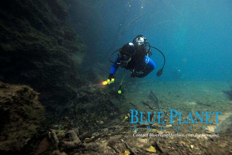 Scuba diver underwater, Prata river, Bonito, Mato Grosso do Sul, Brazil