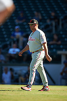 Scottsdale Scorpions pitching coach Steve Schrenk (28), of the Philadelphia Phillies organization, during a game against the Mesa Solar Sox on October 18, 2016 at Sloan Park in Mesa, Arizona.  Mesa defeated Scottsdale 6-3.  (Mike Janes/Four Seam Images)