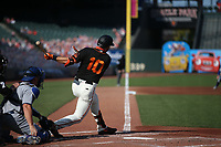 SAN FRANCISCO, CA - AUGUST 27:  Evan Longoria #10 of the San Francisco Giants bats against the Los Angeles Dodgers during game two of a doubleheader at Oracle Park on Thursday, August 27, 2020 in San Francisco, California. (Photo by Brad Mangin)
