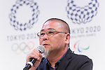 Asao Tokolo, April 25, 2016, Tokyo, Japan - Japanese designer Asao Tokolo speaks abuot his winning design for the Tokyo 2020 Olympic Games and Paralympic Games during an unveiling ceremony on Monday, April 25, 2016. (Photo by AFLO)