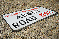 BNPS.co.uk (01202) 558833. <br /> Pic: WessexAuctionRooms/BNPS<br /> <br /> An original Abbey Road sign that was gifted to an accountant for doing a builder's books has sold for almost £14,000.<br />  <br /> The enamel road sign is believed to have been on display at the time of The Beatles' famous photoshoot for their Abbey Road album in 1969.<br />  <br /> It was given to the vendor in the early 1970s in payment for helping the unnamed builder with his finances.<br /> <br /> The accountant, a fan of the Beatles, kept hold of the sign for five decades before selling it with Wessex Auction Rooms of Chippenham, Wilts.