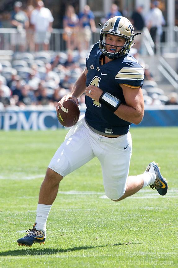 Pitt quarterback Nate Peterman. The Pitt Panthers defeated the Villanova Wildcats 28-7 at Heinz Field, Pittsburgh, Pennsylvania on September 3, 2016.