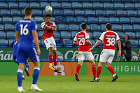 James Hill of Fleetwood Town heads clear during the English League Cup Round 2 Group North match between Leicester City and Fleetwood Town at the King Power Stadium, Leicester, England on 28 August 2018. Photo by David Horn.