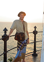 Photographer Fraser Bliss on the lighthouse gallery on his first of many visits to Barberyn (Beruwala) Lighthouse near Bentota, Sri Lanka -2008