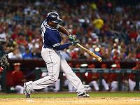 May 8, 2015; Phoenix, AZ, USA; San Diego Padres outfielder Justin Upton hits a double in the third inning against the Arizona Diamondbacks at Chase Field. Mandatory Credit: Mark J. Rebilas-USA TODAY Sports