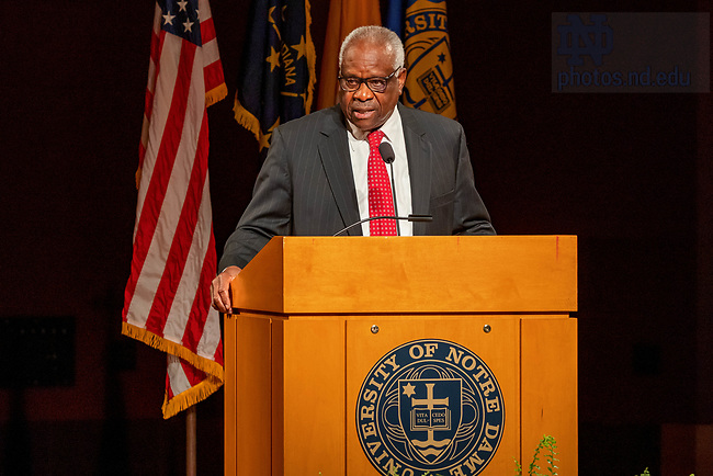 September 16, 2021; United States Supreme Court Justice Clarence Thomas speaks in the DeBartolo Performing Arts Center at the University of Notre Dame. Photo by Peter Ringenberg/University of Notre Dame