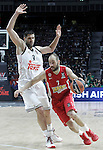 Real Madrid's Felipe Reyes (l) and Olympiacos Piraeus' Vassilis Spanoulis during Euroleague Final Match. May 15,2015. (ALTERPHOTOS/Acero)