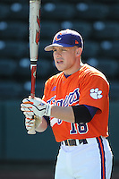 Outfielder Addison Johnson (18) of the Clemson Tigers prior to a game against the Michigan State Spartans Saturday, Feb. 20, 2010, at Fluor Field at the West End in Greenville, S.C. Photo by: Tom Priddy/Four Seam Images