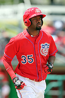 P.J. Phillips #35 of the Inland Empire 66'ers runs the bases against the Visalia Rawhide at Arrowhead Credit Union Park in San Bernardino,California on May 15, 2011. Photo by Larry Goren/Four Seam Images