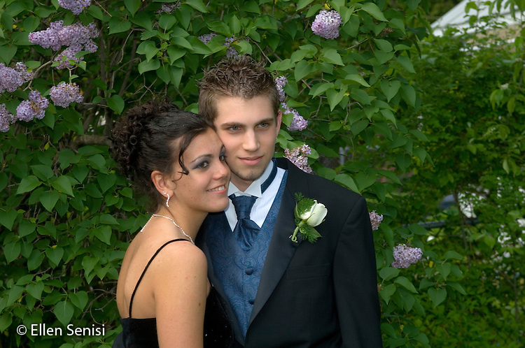 MR/ Schenectady, New York / May 20, 2005.Portrait of teen couple (boy: 18, girl: 15) on way to high school prom. One of a series of photographs chronicling the growth and human development of the same person from infancy through to adulthood..MR: Sen3, Som3.© Ellen B. Senisi