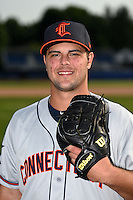 Connecticut Tigers pitcher Josh Laxer (49) poses for a photo before a game against the Batavia Muckdogs on July 21, 2014 at Dwyer Stadium in Batavia, New York.  Connecticut defeated Batavia 12-3.  (Mike Janes/Four Seam Images)