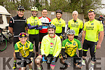 Killorglin cycling club ready to cycle the Down Syndrome Ireland cycle fundraiser at the Ballyseedy Garden Centre on Saturday morning<br /> Front l to r: Michael Leen, Mike McKenna and Francisco Silbestre.<br /> Back l to r: John O'Donoghue, John F O'Sullivan, Bernard Murphy, Edward Casey, Keelan McHugh and Brian Sheehan.