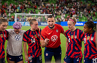 AUSTIN, TX - JUNE 16: Vlatko Andonovski of the USWNT talks to his team during a game between Nigeria and USWNT at Q2 Stadium on June 16, 2021 in Austin, Texas.