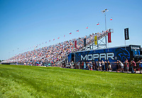Aug 8, 2020; Clermont, Indiana, USA; NHRA fans crowd in the grandstands during qualifying for the Indy Nationals at Lucas Oil Raceway. Mandatory Credit: Mark J. Rebilas-USA TODAY Sports