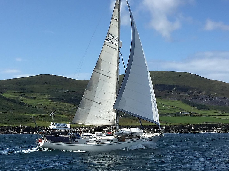 Peter Lawless's Waxwing is a Rival 41 designed by Peter Brett