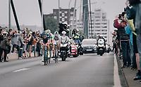 Yoann Offredo (FRA/Wanty-Groupe Gobert) leading the breakaway after they loop back into Düsseldorf for a flyby<br /> <br /> 104th Tour de France 2017<br /> Stage 2 - Düsseldorf › Liège (203.5km)