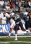 Nevada defender Duke WIlliams (20) breaks up a play to Fresno State receiver Isaiah Burse (1) in the fourth quarter of an NCAA football game in Reno, Nev., on Saturday, Oct. 21, 2011. Nevada won 45-38. (AP Photo/Cathleen Allison)