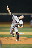 UConn Huskies relief pitcher Ryan Radue (15) in action against the Wake Forest Demon Deacons at Wake Forest Baseball Park on March 17, 2015 in Winston-Salem, North Carolina.  The Demon Deacons defeated the Huskies 6-2.  (Brian Westerholt/Four Seam Images)