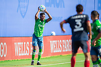 LAKE BUENA VISTA, FL - JULY 14: Kelvin Leerdam #18 of the Seattle Sounders throws the ball during a game between Seattle Sounders FC and Chicago Fire at Wide World of Sports on July 14, 2020 in Lake Buena Vista, Florida.