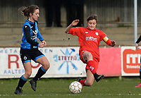 20180127 - AALTER , BELGIUM : Brugge's Katinka Dubois pictured trying to avoid flying and tackling Standard's Maurane Marinucci (right) during the quarter final of Belgian cup 2018 , a womensoccer game between Club Brugge Dames and Standard Femina de Liege , in Aalter , saturday 27 th January 2018 . PHOTO SPORTPIX.BE | DAVID CATRY
