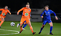 Ella Van Kerkhoven (3) of AA Gent pictured in action with defender Sterre Gielen (14) of KRC Genk during a female soccer game between  Racing Genk Ladies and AA Gent Ladies on the eleventh matchday of the 2020 - 2021 season of Belgian Scooore Womens Super League , friday 22 th of January 2021  in Genk , Belgium . PHOTO SPORTPIX.BE | SPP | DAVID CATRY