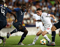 Football: Uefa under 21 Championship 2019, England - France, Dino Manuzzi stadium Cesena Italy on June18, 2019.<br /> England's Phil Foden (r) is going to score contrasted by France's  Fodé Ballo-Touré (l) during the Uefa under 21 Championship 2019 football match between England and France at Dino Manuzzi stadium in Cesena, Italy on June18, 2019.<br /> UPDATE IMAGES PRESS/Isabella Bonotto