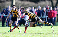 Saturday 4th February 2017 | RBAI vs BALLYCLARE HIGH SCHOOL<br /> <br /> James Hume tackles Owen Kirk during the Ulster Schools' Cup clash between RBAI and Ballyclare High School at  Cranmore Park, Belfast, Northern Ireland.<br /> <br /> Photograph by www.dicksondigital.com