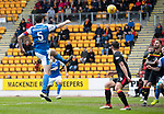 St Johnstone v Partick Thistle…28.04.18…  McDiarmid Park    SPFL<br />Joe Shaughnessy heads in saints goal<br />Picture by Graeme Hart. <br />Copyright Perthshire Picture Agency<br />Tel: 01738 623350  Mobile: 07990 594431