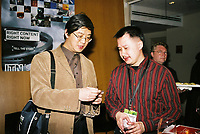 Toronto (ON) CANADA, April 21, 2007<br />  Jimmy Zhu, producer (Canada) + a programmer<br /> at the HOT DOCS Film Festival 2007 <br />  Canadian Party held at the BATA Show Museum.<br /> <br /> <br /> <br />     photo by Pierre Roussel - Images Distribution
