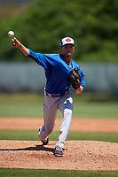 Toronto Blue Jays pitcher Emerson Jimenez (56) during a Minor League Spring Training game against the Philadelphia Phillies on March 29, 2019 at the Carpenter Complex in Clearwater, Florida.  (Mike Janes/Four Seam Images)