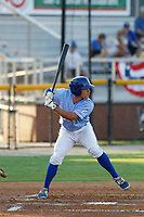 Burlington Royals catcher Freddy Fermin (49) at bat during a game against the Kingsport Mets at Burlington Athletic Complex on July 28, 2018 in Burlington, North Carolina. Burlington defeated Kingsport 4-3. (Robert Gurganus/Four Seam Images)