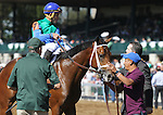 October 08, 2014: Circus Performer and jockey Joel Rosario win the 3rd race, Maiden 2 year olds, for owner Green Hills Farm and trainer Todd Pletcher.  Candice Chavez/ESW/CSM
