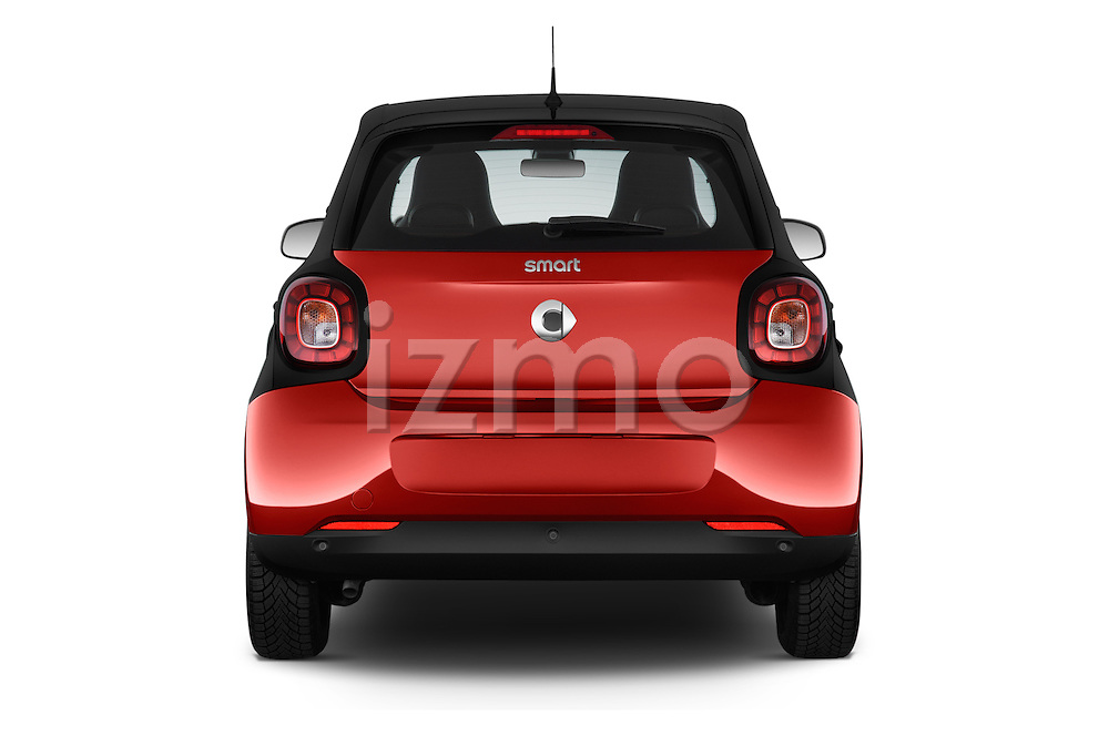 Straight rear view of a 2015 Smart FORFOUR Prime 5 Door Micro Car Rear View  stock images