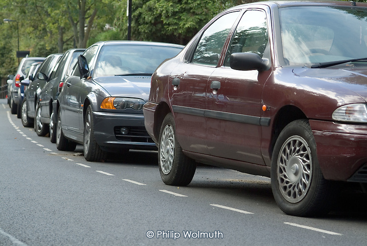 Parked cars in Hampstead, London.