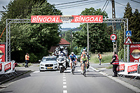 """Baptiste Planckaert (BEL/Wallonie Bruxelles), Niki Terpstra (NED/Total Direct Energie) and  Oscar Riesebeek (NED/Roompot Charles) with the decisive break away at the 'Golden KM"""". <br /> <br /> <br /> Circuit de Wallonie 2019<br /> One Day Race: Charleroi – Charleroi 192.2km (UCI 1.1.)<br /> Bingoal Cycling Cup 2019"""