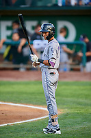 Bladimir Restituyo (7) of the Grand Junction Rockies at bat against the Ogden Raptors at Lindquist Field on September 9, 2019 in Ogden, Utah. The Raptors defeated the Rockies 6-5. (Stephen Smith/Four Seam Images)