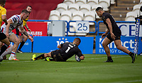 22nd August 2020; The John Smiths Stadium, Huddersfield, Yorkshire, England; Rugby League Coral Challenge Cup, Catalan Dragons versus Wakefield Trinity; David Mead of Catalan Dragons scores his second and Catalans third try