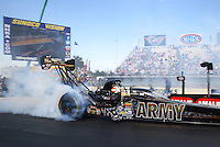 Mar 15, 2015; Gainesville, FL, USA; NHRA top fuel driver Tony Schumacher during the Gatornationals at Auto Plus Raceway at Gainesville. Mandatory Credit: Mark J. Rebilas-