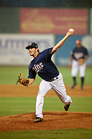 Elizabethton Twins relief pitcher Zach Neff (21) delivers a pitch during a game against the Bristol Pirates on July 29, 2018 at Joe O'Brien Field in Elizabethton, Tennessee.  Bristol defeated Elizabethton 7-4.  (Mike Janes/Four Seam Images)