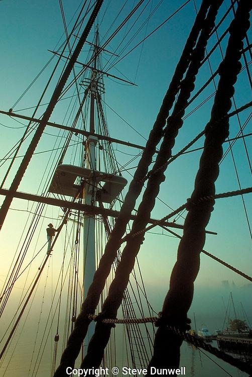 USS Constitution rigging, sunrise, Charlestown Navy Yard