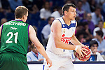 Real Madrid's player Jonas Maciulis and Unicaja Malaga's player Adam Waczynski during match of Liga Endesa at Barclaycard Center in Madrid. September 30, Spain. 2016. (ALTERPHOTOS/BorjaB.Hojas)