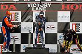 Scott Dixon, Chip Ganassi Racing Honda, Takuma Sato, Rahal Letterman Lanigan Racing Honda, Sebastien Bourdais, Dale Coyne Racing with Vasser-Sullivan Honda, podium, champagne