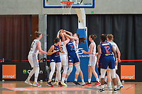 scrimmage Hanne Mestdagh (22) of Belgium , Tina Krajisnik (33) of Serbia , Antonia Delaere (6) of Belgium pictured during a basketball game between the national teams of Belgium , called the Belgian Cats , and Serbia on Friday 28 th of May 2021 in Kortrijk , Belgium . PHOTO SPORTPIX.BE   SPP   STIJN AUDOOREN