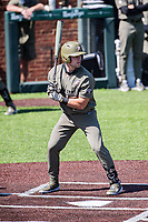 Vanderbilt Commodores first baseman Dominic Keegan (12) at bat against the South Carolina Gamecocks at Hawkins Field in Nashville, Tennessee, on March 21, 2021. The Gamecocks won 6-5. (Danny Parker/Four Seam Images)