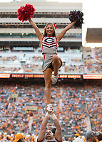 KNOXVILLE, TN - OCTOBER 5: Georgia cheerleader prior to the game during a game between University of Georgia Bulldogs and University of Tennessee Volunteers at Neyland Stadium on October 5, 2019 in Knoxville, Tennessee.